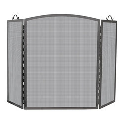 Uniflame - Three-panel, Arched, Medium Iron Fire Screen - Three-fold, iron fire screen protects your floor & accessorizes your fireplace.  Streamlined design with gentle arch top lends elegance & interest.  Side panels feature curved iron handles for easy mobility.  Mesh screen enhances the visual appeal of your gorgeous fireplace.  Uniform black iron frame ties the individual elements together. * Stylish Screen is Functional and Attractive. Maintains Fireplace Safety. Allows For Ease and Comfort with Fireplace Maintenance. 52 in. W x 32 in. H