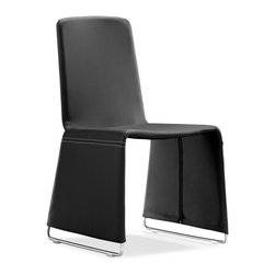 Zuo Modern - Nova Dining Chair Black (Set of 2) - The Nova dining chair has a soft leatherette wrapped frame with chromed steel legs.