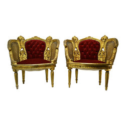 Lavish Shoestring - Consigned 2 Gilded & Caned Bergere Armchairs in Red Velvet, French, 19th Century - This is a vintage one-of-a-kind item.