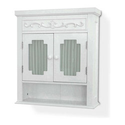 Elegant Home Fashions - Lisbon Medicine Cabinet w Shelf in White - Medicine cabinets should never be dull and our Lisbon arrives with traditional beauty throughout. Designer glass provides a privacy screen on two shaped panel doors. A floral carving trails gently just above with a spacious single shelf below, all in elegant white. Attractive addition to any bath decor. Adds style and storage to your bath with these refreshing furnishings. Wood curving on top rail. Has a glass window with a white curtain. White finish. Made of MDF, glass. 21 in. W x 7 in. L x 24.1875 in. H
