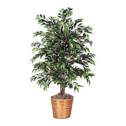 Vickerman - 4' Green Smilax Bush - 4' Green Smilax Bush with a dark brown rattan container