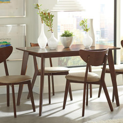 5 PC Casual Walnut Wood Retro Dining Room Set Antique Chairs 103061 - Express your retro side with this table and chair set. The solid wood table and comfortable chairs showcase angled out legs and deep curved backs finished in walnut. In addition, the curved back of the chairs offers a gentle support while sitting on the fabric cushioned seat. This set will hold it's design in any dining area over time.