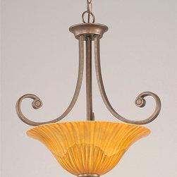 Toltec Lighting - Bronze Finish 3 Bulb Uplight Pendant with Tiger Glass - 3 medium base 100 watt bulb(s) (not included).