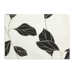 Black & White Modern Leaf Custom Placemat Set - Is your table looking sad and lonely? Give it a boost with at set of Simple Placemats. Customizable in hundreds of fabrics, you're sure to find the perfect set for daily dining or that fancy shindig. We love it in this black & white leaf motif with graphic modern flare.
