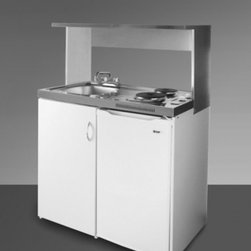 """Summit - C39APSS 39"""" Wide Combination Kitchen in Stainless Steel - SUMMITs C39APS is a 39 inch wide combination kitchen with a 24 inch depth and includes our Space Saving Appliance Station in white powder coated galvanized steel Two sealed electric burners a refrigerator-freezer sink cabinet space and heavy-duty ste..."""
