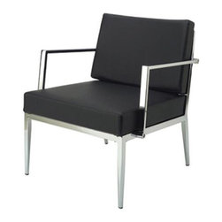 White Line Imports - Modern Arm Chair in Black - Wipe clean with a dry cloth. Made from leather and chrome. No assembly required. 24 in. W x 27 in. D x 28 in. H (31 lbs.)