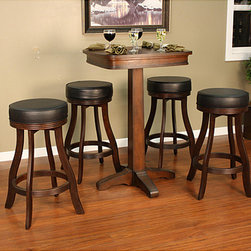 None - Mira Pub Table Set - The Mira pub table set offers beauty and functionality and will blend seamlessly with any homes decor while the contemporary classic backless bar stool is sure to enhance any room. This classic pub set includes a table and four backless stools.