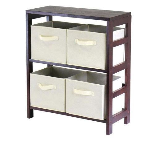 Winsome Wood - Two Shelf Storage Unit w Four Beige Fabric Li - This unit is perfect for storing almost any items around your home  including toys, books, clothes, linens, games, or toiletries. The wood frame will hold up for ages, while the attractive walnut finish is a stylish touch that will coordinate in any home. * Capri Collection. Walnut finish unit. Beige color baskets. Wood Unit. Fabric baskets. Assembly required. Shelf Unit: 25.25 in. L x 11.25 in. W x 29.25 in. H, 25 lbs. Basket: 10.97 in. L x 10.06 in. W x 9 in. H. 1.2 lbs