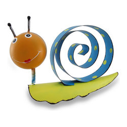 """Zeckos - Orange and Blue Bobble Head Snail Whimsical Metal Sculpture - Snails may be known as slow movers, but this snail is sure to quickly bring on a smile Crafted from metal with a springy bobble head and a coiled """"shell"""", this 9 inch (23 cm) high, 14 inch (36 cm) long, 3.5 inch (9 cm) wide sculpture is hand-painted in orange, yellow and blue, and wouldn't be complete without polka dots on his """"home"""" A true conversation starter, this smiling snail sculpture is sure to delight both you and your guests"""