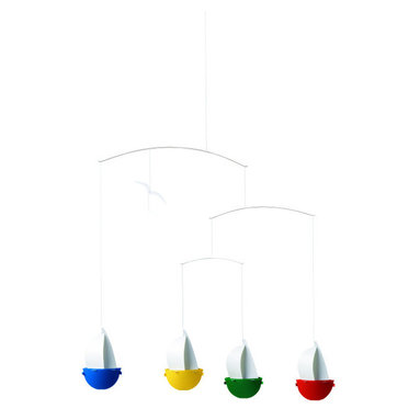 Flensted Mobiles - SailFun Mobile - Sailing, sailing over your baby's crib! These sassy little sailboats will brighten your nursery and bring about oodles of smiles.