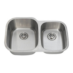 Polaris Sinks - Polaris Sinks PL305 Double Basin Undermount Kitchen Sink - PL305-16 - Shop for Kitchen from Hayneedle.com! For professional style and versatility the Polaris Sinks PL305 Double Basin Undermount Kitchen Sink is the right choice for your kitchen. This sink features an offset double bowl design and is made of 304-grade stainless steel. A brushed satin finish masks any scratching and this sink is covered by a manufacturer's lifetime warranty. It includes mounting hardware and a cardboard template for easy installation.Product SpecificationsMaterial: Stainless steelNumber of basins: 2Bowl depth (inches): 9Smaller bowl dimensions (inches): 13W x 16.5DLarge bowl dimensions (inches): 15.75W x 18.75DShape: RectangularMount: UndermountAbout Polaris SinksPolaris Sinks provides a plethora of sinks for your kitchen and bath. They are proud to offer many styles of stainless steel porcelain quartz copper glass bronze and natural stone sinks. Only the highest quality of materials is used to manufacture their sinks which are covered under a limited lifetime warranty.Polaris stainless steel sinks use high-quality 304-grade cold-rolled steel for rust-proof durability. Equally as popular to the stainless steel line is Polaris line of porcelain bathroom and kitchen sinks. These sinks are made using vitreous china a mixture of clay and other minerals that are triple glazed and triple fired at extremely high temperatures to be stain-resistant and extremely durable. All of the porcelain sinks in this collection are available in white and bisque in an array of shapes and styles.