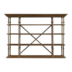 """Stanley Furniture - European Farmhouse L'Acrobat Open Air Shelf - Introducing the first etagere to stand traditional interior decor on its head. Literally. Our L'Acrobat Open Air Shelf is so flexible, it's almost hard to find enough categories to describe it. Standing at a 90 degree angle from the wall, it serves as an elegant, neo-traditional room divider. Position it behind a sofa or under a bank of stairs and you have a European-inspired open shelving unit. Rearrange the six removable shelves and it becomes a contemporary media center. Lift it onto a companion piece, like our perfectly proportioned Campagne Cabinet, and you've got a breezy new twist on the classic entertainment armoire. Or flip the entire unit over--with the """"crown"""" molding along the floor--for a stylish flat-panel television surround. Not bad for one multipurpose unit. Fully finished on all sides for maximum flexibility. In hand-rubbed iron and selectively harvested Dutch white cedar. May be used as a deck on the Campagne cabinet or turned over on its opposite end as a stand alone set of shelves. Six removable shelves; top three shelves are stationary; finished on top and bottom. Made to order in America."""