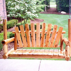 Rustic Porch Swing - The Moon Valley Rustic Porch Swing has a very rustic look that gives it all the charm of a handcrafted DIY swing but with the durability and flawless construction of a professional, artisan-crafted swing. The design includes a fan shaped back made of flat pieces of white cedar wood, and the seat slats are curved for added style. The arms and sides are made of round wood pieces, and the supports are beveled for an attractive finishing touch. Available unfinished and with an amber varnish, the swing is made in America and features strong, supportive dowel construction that maximizes comfort.