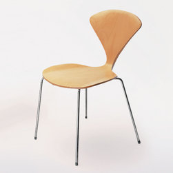 Cherner Chair - Cherner Chair Metal Base Side Chair - The curves of the molded plywood shell and the slender lines of bright chrome make the metal base chair an elegant alternative to the wood base chair. In casual or formal settings, metal base chairs are stackable, strong, and lightweight. Available with or without upholstered pads, contact SWITCH foradditional information and pricing. Reissued from Norman Cherner's drawings and molds and like the original, made in the USA. Manufactured by Cherner Chair.Designed in 1958.