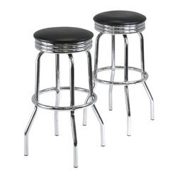 Winsome - Summit Set of 2 Swivel Bar Stools - Summit, retro style set of 2 swivel bar stools are made with polished steel frame and legs and finished with black faux leather seats. The seats are 19.69 in. diameter for comfortable seating and the 29.13 in. height has a foot rest.