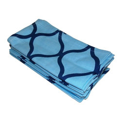 None - Celebration Blue Tile Printed Dinner Napkins (Set of 12) - This set of twelve blue and navy tile-printed oversized dinner napkins are made from 100-percent super soft premium cotton tailored with a generous hem. Aqua Multi pack assortment. Machine washable for easy care.
