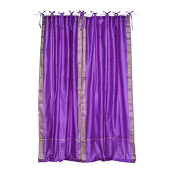 Indian Selections - Pair of Lavender Tie Top Sheer Sari Curtains, 43 X 63 In. - Size of each curtain: 43 Inches wide X 63 Inches drop.