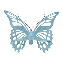 """Cricket Forge - Butterfly Bench, Verdi, Small - This original Cricket Forge bench design is crafted from steel (1/4″ for Small, Medium and Large and 3/16″ for the Child), zinc galvanized to prevent rusting and hand painted using a dry brush technique with high quality marine grade epoxy paints. Bench is stamped """"Cricket Forge"""" for authentication. Wash with mild soap and water to remove environmental grime."""