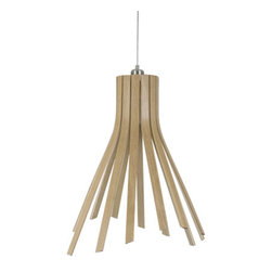 EcoFirstArt - Flux Light - This remarkable pendant offers you the industrial shape of a classic funnel task lamp reinterpreted in fluid slats of wood. The outside is crafted of warm oak, but the inside employs the soft glow of ash for a cool, clear light.