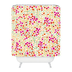 DENY Designs - Joy Laforme Azalea In Pink Shower Curtain - Who says bathrooms can't be fun? To get the most bang for your buck, start with an artistic, inventive shower curtain. We've got endless options that will really make your bathroom pop. Heck, your guests may start spending a little extra time in there because of it!