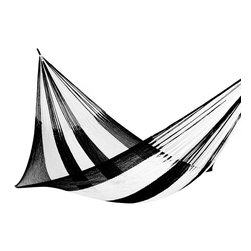 Yellow Leaf Hammocks - Southampton Hammock, Family-Size (Cap. 550lbs) - Family-Size | A sleek black & white metropolitan Hammock, our 'Southampton' is 100% handcrafted by artisan weavers for maximum comfort.