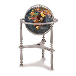 """Kalifano - Large Black Opalite Gemstone Globe with Ambassador Floor Stand - Gemstone world globe is made with a variety of individually hand carved   semi precious stones graded """"A"""" for quality ."""