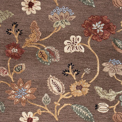 Jaipur Rugs - Transitional Floral Pattern Beige /Brown Wool/Silk Tufted Rug - BL45, 5x8 - Transform your room into an enchanting garden with this hand-tufted wool and silk rug. The vibrant flowers and leaves are raised, which makes them really come alive. This exquisite rug is available in multiple sizes to suit your specific needs.