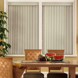 Bali - Bali Vinyl Vertical Blinds: Foundations - Bali verticals add drama, dimension and contemporary styling to patio doors and wider windows.  The Foundations vinyl vertical blind collection offers a basic smooth vane in a variety of colors.
