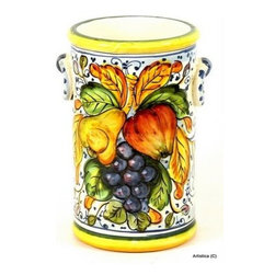 Artistica - Hand Made in Italy - Frutta: Utensil/Breadstick Holder/Wine Chiller - Keep your most used utensils within reach with this hand-painted utensil holder.