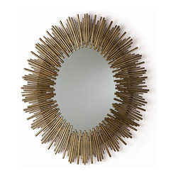 Arteriors - Prescott Oval Mirror, Gold Leaf - Bring striking style to your favorite contemporary setting with this large oval wall mirror. Thin rods of textured iron form a bold sunburst frame that deserves the attention it commands.