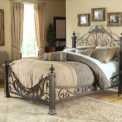 Fashion Bed Group - Baroque King-size Bed - Create a fantasy bedroom with this king-size poster bed featuring an intricate design and four-inch posts topped with dramatic casted finials. The durable mattress support system ensures that youll have years of relishing in your romantic dreams.