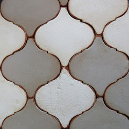 Tabarka - Shapes arabesco small - Mediterranean style, hand-crafted terra cotta tile avalible in any field color. Can be used as floor or wall tile.