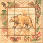 The Tile Mural Store (USA) - Tile Mural -  Bear  - Kitchen Backsplash Ideas - This beautiful artwork by Anita Phillips has been digitally reproduced for tiles and depicts a framed bear.    A bear tile mural would be perfect as a part of your kitchen backsplash tile project or your tub and shower surround bathroom tile project. Bear images on tile make a great kitchen backsplash idea and are excellent to use in the bathroom too for your shower tile project. Consider a tile mural with bear pictures for any room in your home where you want to add wall tile with interest.
