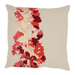 Emma at Home - Daphne Pillow, Marmalade - With no start or stop, this stem of blooms is reminiscent of Jack's beanstalk — only it's far prettier. The colorful foliage would bring a clean, earthy element to a pillow arrangement.