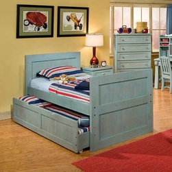 Casual Wood Weathered Blue Captains Bed - He's Captain Hook one minute and Captain Planet the next but no matter what your little captain will love the Casual Wood Weathered Blue Captains Bed. Finished in a weathered blue this captains bed adds a splash of color to your kid's bedroom decor. The framed-up panels add a hint of country charm while the simple design looks stylish in almost any setting. Plus this bed is constructed of pine from fully renewable plantations. So it's more than just a colorful addition to your child's room but a smart investment in Earth's future. Just choose the size that best fits your space.Complete the bed with the optional trundle. Add your own twin-sized mattress for an extra bed (a must for a super sleepover) or simply use it for extra storage. With framed panels and rolling caster feet this unit is an attractive and efficient space-saver.Dimensions:Twin: 80.5L x 43.75W x 37H inchesFull: 80.5L x 59.75W x 37H inchesTrundle unit: 76L x 40.75W x 16H inchesAbout American WoodcraftersFor unparalleled quality and value choose American Woodcrafters for your youth or master bedroom furniture. Founded in 1996 as a division of Rockford Capital Corporation and located in High Point N.C. American Woodcrafters is the brainchild of John N. Foster. His 40 years of experience in manufacturing marketing and product development inspire the company to deliver superior furniture designs of exceptional value. Each exquisite furniture piece is well-made and creatively styled with a fine quality finish and innovative features to make your home more beautiful and functional.