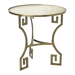 Arteriors Home - Arteriors Home Dunmoore Greek Key Brass/Mirror Side Table - Arteriors Home 6334 - Arteriors Home 6334 - A fun take on the traditional Greek Key motif, this round side table has an antiqued mirror top.