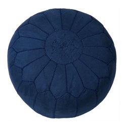Suede Leather Pouf - Blue - Dimensions 20.0ʺW × 12.0ʺD × 12.0ʺH