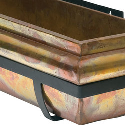 """H Potter - H Potter Rustic Copper Window Box, 36"""" - This stunning window box allows you and others to admire its intentionally weathered aesthetic. The patina is rich, full of multicolored swirls and patches, while the dark frame serves as a sleek counterbalance."""