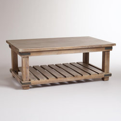Cameron Coffee Table - The natural woodwork of this table offers a beachy, natural vibe. I love the look of unfinished wood, and the shelf on the bottom is a huge plus for storing stacks of books ready for winter reading.