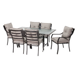 Hanover - Lavallette 7-pc Dining Set (Glass Table + 6 Cushion Chairs) - The Lavallette 7-Piece Outdoor Dining Set includes a glass topped table and six comfortable chairs, complete with cushions. This set was designed to mix contemporary design with classic comfort