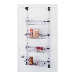 "Organize It All - Overdoor 4 Basket Unit, 48.25"" - The over door four tier basket unit holds a surprising amount of weight from a standard door or wall mounting. Able to hang from doors up to one and three-quarter inches thick, no drilling is required (for doors). Mount the rack on the wall for added strength. Epoxy coated metal tubes support the weight of four wire baskets and their contents. The baskets are able to fold up flat when not in use. This basket unit is equally at home in the laundry room, bedroom, office, bathroom, or anywhere that you're running low on storage. Some assembly is required."