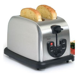 Maxi Matic USA - 2 Slice SS Toaster - Elite Platinum 2-Slice Electronic Toaster with beautiful stainless steel fine brush finish for an elegant and traditional appearance; Multi-functions for Defrosting  Reheating  and Bagels; Removable crumb tray for fast & easy clean up; 2 Extra wide slots for bagels and English muffins; Self-centering guides for even toasting; Six variable browning control; Cord storage compartment; Handy EJECT button to pre-stop toasting cycle.  This item cannot be shipped to APO/FPO addresses. Please accept our apologies.