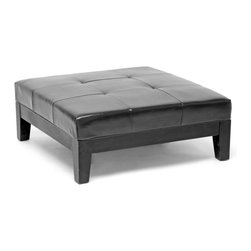 Baxton Studio - Baxton Studio Black Large Full Leather Square Cocktail Ottoman - This bench ottoman is a versatile piece useful in any room of your home. This elegant ottoman provides styles which allows you to match your existing leather sofa set.  Frame built to last with sturdy construction consisting of kiln dried hardwood frame, with high density foam padding.  Durable polyurethane coated leather upholstery for longer lasting use and stain resists for easy clean up.  Leg constructed with solid rubber wood with veneer finish completes with elegant smooth, clean lines design.  This Ottoman offers up the perfect way to sit back and relax.  The perfect combination of quality craftsmanship with simple and sophisticated designs, that will instantly enhance any room decor.