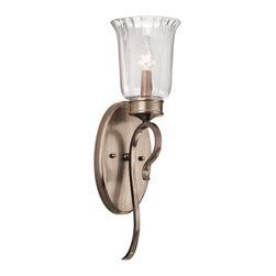 Kichler Lighting - Kichler Lighting 43243BRSG Malina Traditional Wall Sconce - Thin  Petite  Delicate. This 1 light wall sconce from the Malina™ collection exudes classic, elegant style. Sweeping, curled arms and Clear Optic Rain Glass elevate this design, while the soft Brushed Silver and Gold finish adds a subtle accent that will effortlessly enhance any space.