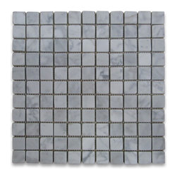 "Stone Center Corp - Carrara Marble Square Mosaic Tile 1x1 Tumbled - Carrara white marble 1"" x 1"" square pieces mounted on 12"" x 12"" sturdy mesh tile sheet"