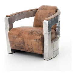 Four Hands - Sinclair Club Chair With  Leather and Spitfire Arm, Aviator Print - You get around — so why not pay tribute to your penchant for travel with this unusual club chair. Flight-printed leather sits in a curved aluminum frame inspired by the Spitfire aircraft used by British forces in WWII.