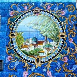 italian ceramic art - hand painted on tiles. 1sqmx1sqm