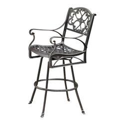 Home Styles - Home Styles Biscayne Swivel Stool in Bronze Rust - Home Styles - Outdoor Bar Stools Patio Barstools - 555589 - Create an intimate conversation area with Home Styles' outdoor Stools. Constructed of cast aluminum in a UV resistant powder coated, hand applied Deep Rust bronze-Antique finish, the Bar Stool features a seat designed specifically to prevent damage caused from pooling by allowing water to pass through freely. Adjustable nylon glides prevent damage to surfaces caused by movement and provide stability on uneven surfaces.