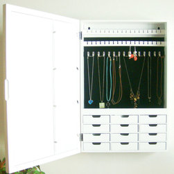 """Proman Products - Venice Wall Mount Jewelry Armoire in White finish - Venice Wall Mount Jewelry Armoire in White finish; Bellissimo Collection; 6 picture holder and a mirror on door. Picture size 3x5.; 12 drawers to store and organize your items; Space saver to put on a wall; 12 drawers for assortments; Beautiful finish with wood structure; Easy to install; Dimensions: 16""""W x 23""""H x 4""""D"""