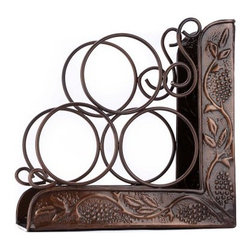 Old Dutch Antique Embossed 3 Bottle Wine Rack Bookend - Nothing makes a better pair than a glass of wine and a good book, so put them together with the Old Dutch Antique Embossed 3 Bottle Wine Rack Bookend. With an ornate look and gorgeous antique silver finish, this bookend holds three bottles of your favorite wine.About Old Dutch InternationalFamous for their copperware, Old Dutch International, Ltd. has been supplying the best in imported housewares and giftware to fine retailers throughout America since 1950. They offer a large assortment of housewares, including bakers racks, trivets, and pot racks in materials like chrome, colorful enamel, and stainless steel. Other product lines include wine racks, serving trays, specialty cookware, clocks, and other home accessories. Old Dutch warehouses and distributes their products from a 30,000 square foot facility in Saddle Brook, N.J.
